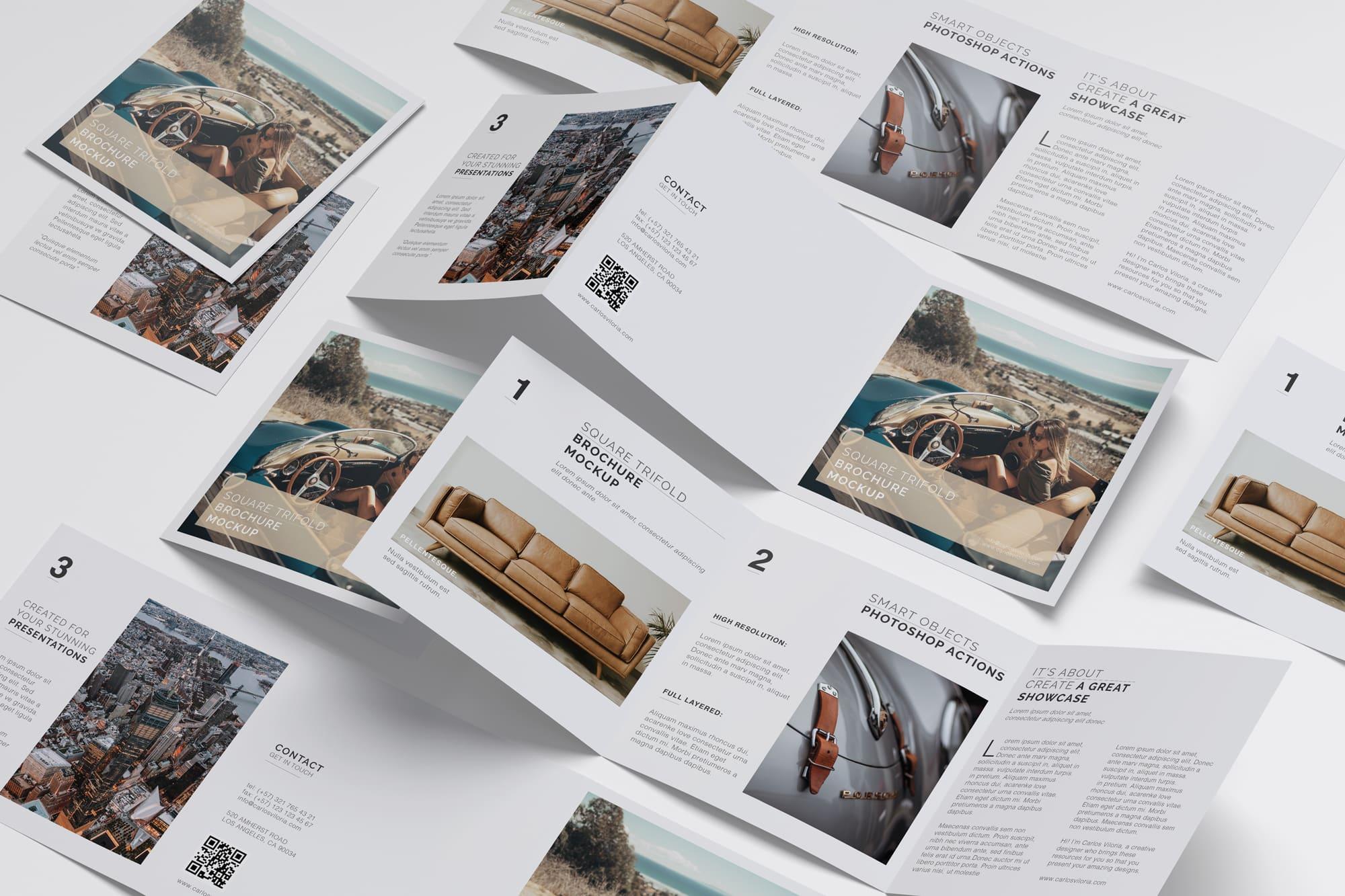 Square Tri-Fold Brochure Mockup 07