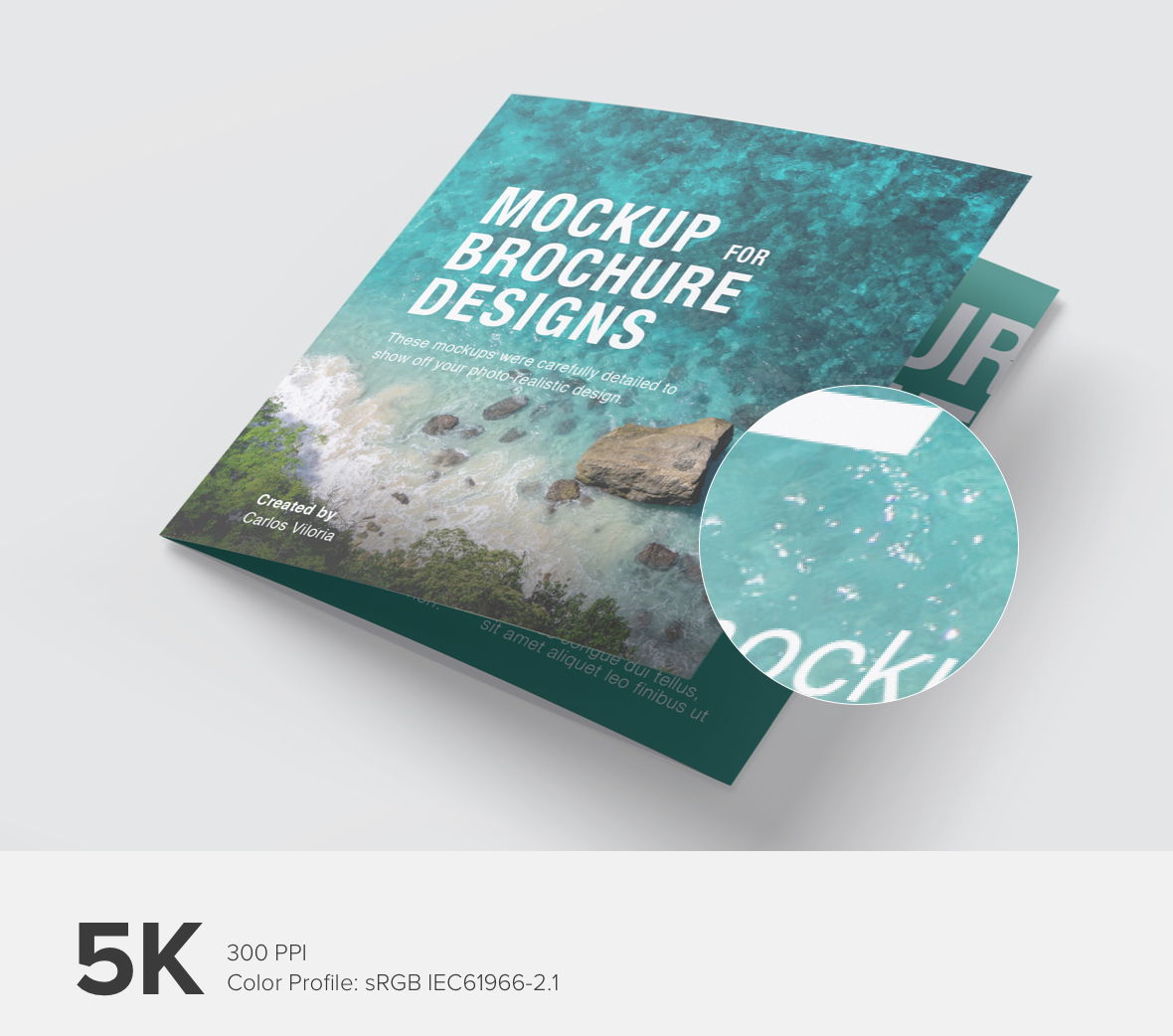 Square Trifold Brochure Cover Mockup - 5K High Resolution