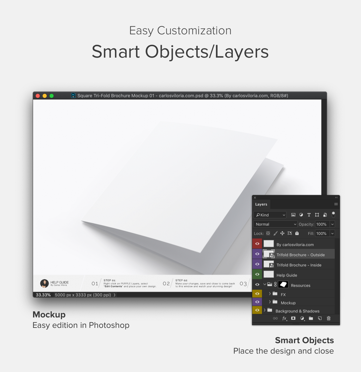 Square Trifold Brochure Cover Mockup - how to use
