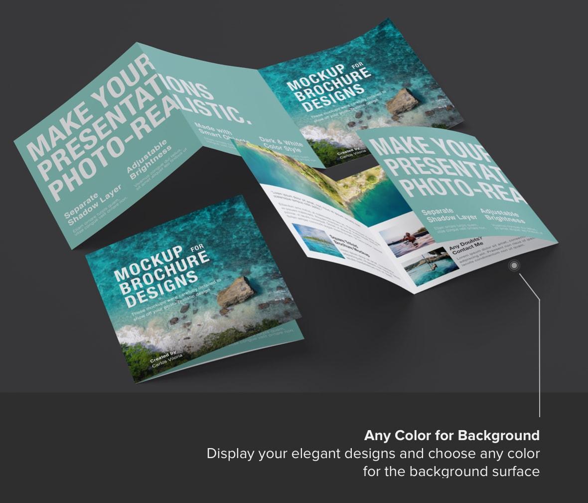 Square Trifold Brochure Mockup 06