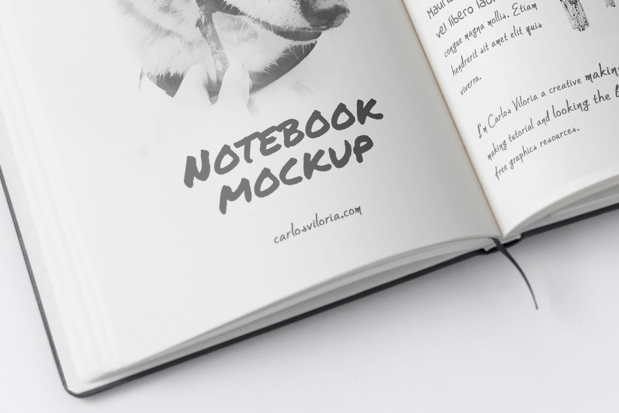 Free A5 Sketch Notebook Mockup 02 for Photoshop - Carlos Viloria
