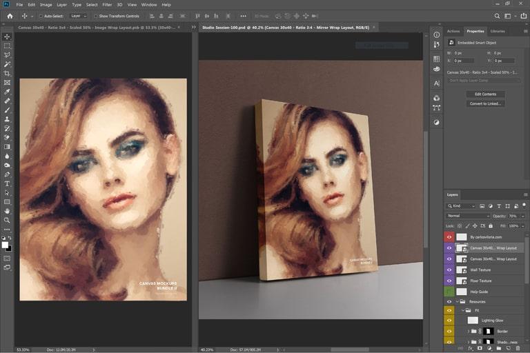 Leaning Portrait Canvas Ratio 3x4 Mockup